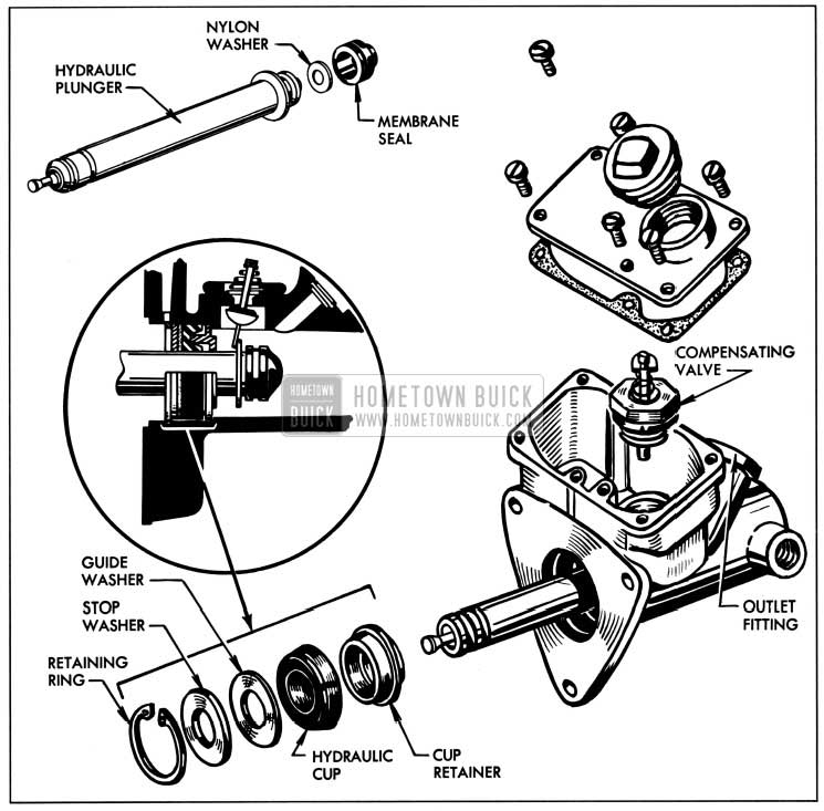 1957 Buick Hydraulic Cylinder Assembly-Exploded