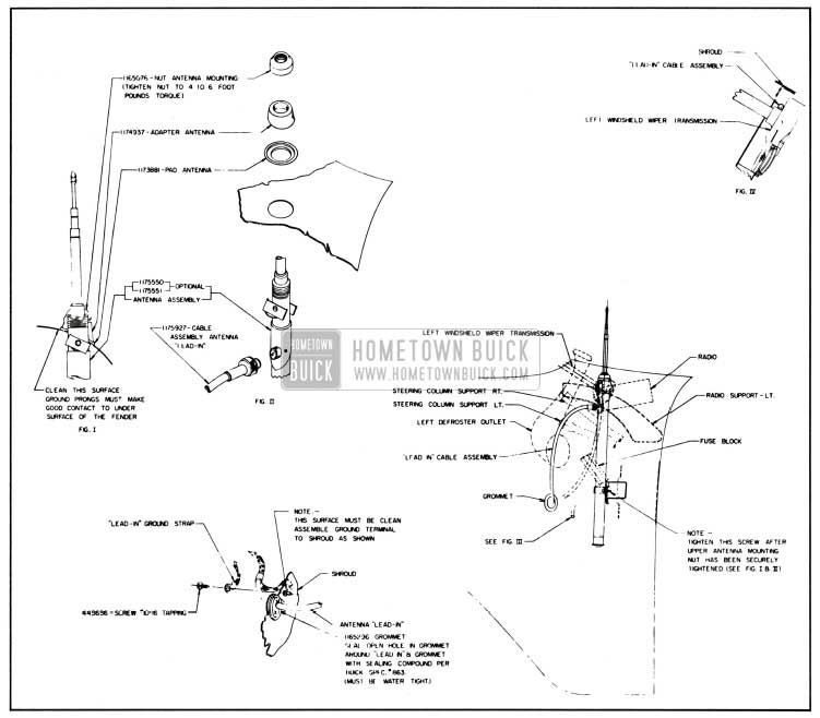 1957 Buick Manual Antenna Installation Details