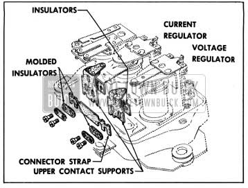 1957 Buick Relationship of Connector Strap, Insulators and Upper Contact Supports