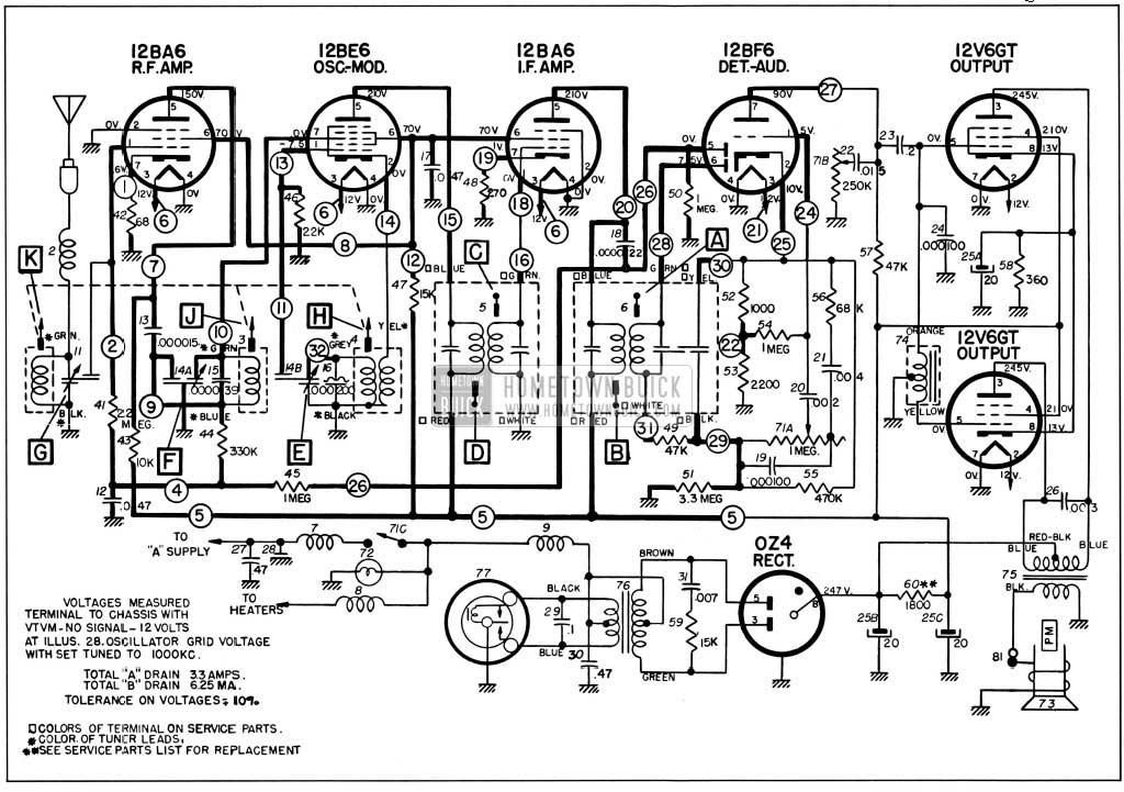 1957 Buick Sonomatic Radio Circuit Schematic