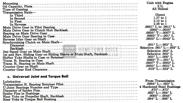 1957 Buick Synchromesh Transmission Specification
