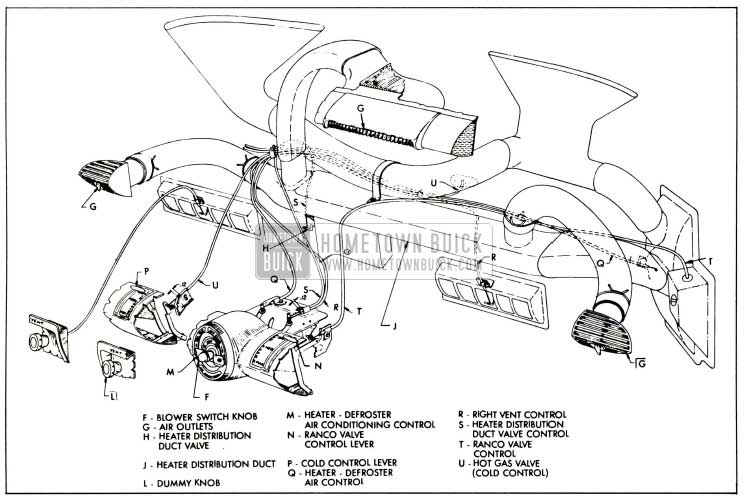 1958 Buick Air Conditioner Controls and Linkage