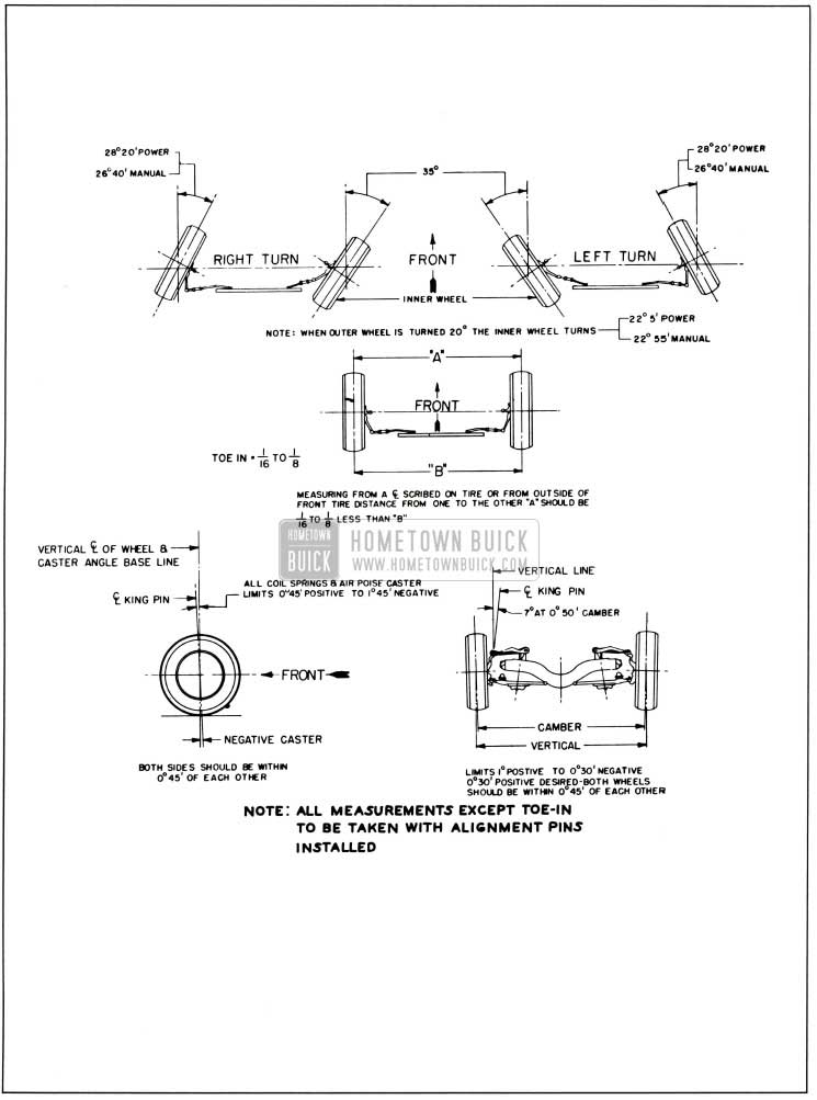 1958 Buick Alignment Heights and Specifications Chart