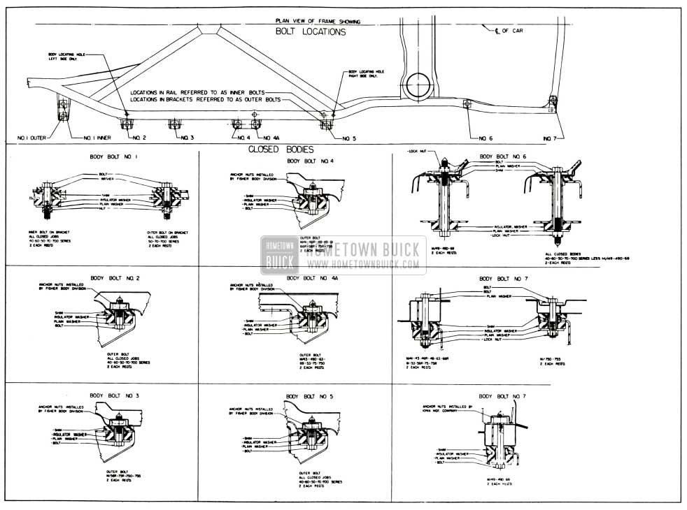1958 Buick Body Mountings-Closed Bodies
