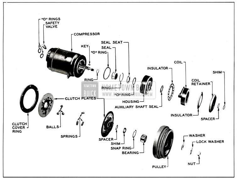 1958 Buick Clutch and Seal-Exploded View