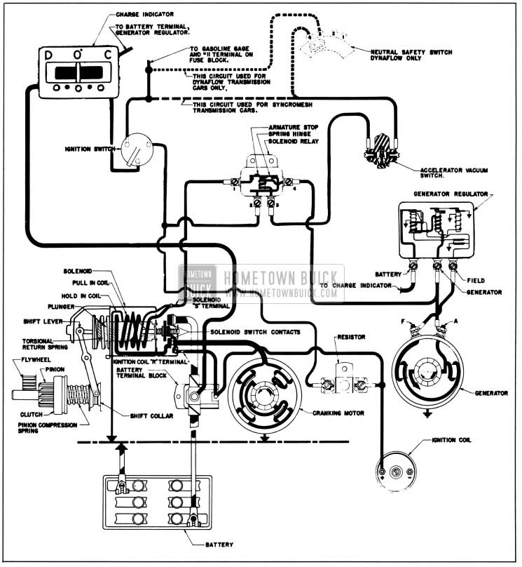 1958 Buick Cranking System Circuits