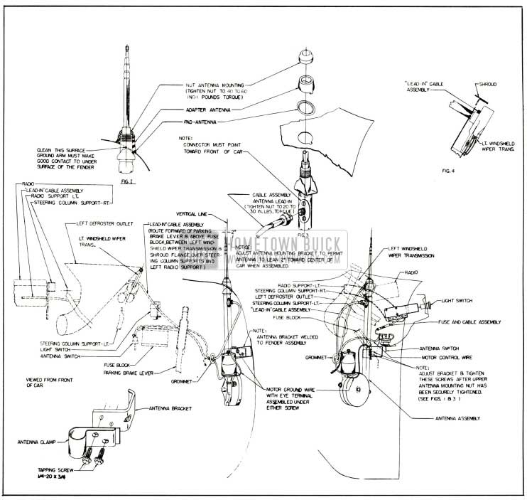 1958 Buick Electrical Antenna Installation Details