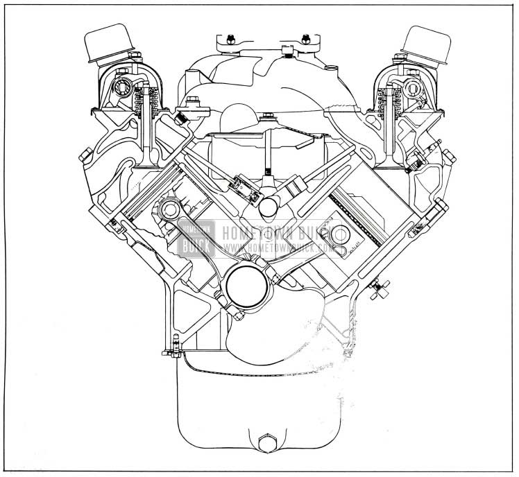 1958 Buick Engine, End Sectional View