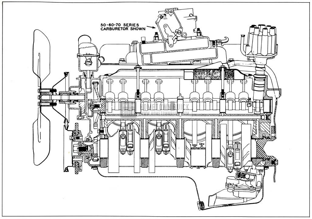 1958 Buick Engine, Side Sectional View