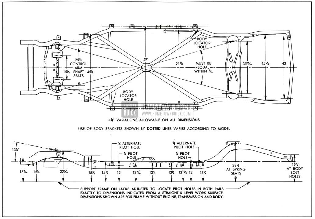 1958 Buick Frame Checking Dimensions-Series 40-60