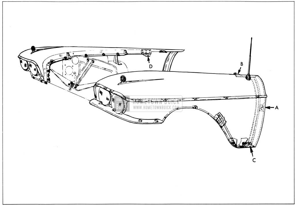 1958 Buick Front Fender Rear End Alignment Points