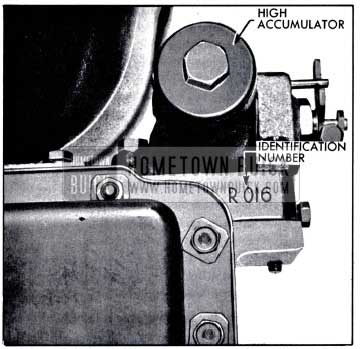 1958 Buick Location of Variable Pitch Dynaflow Transmission Identification Number