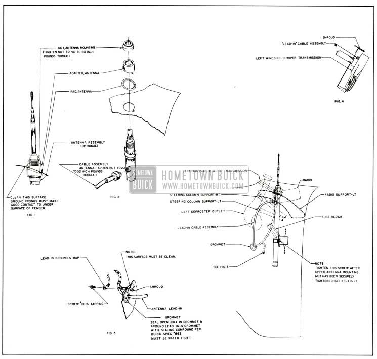 1958 Buick Manual Antenna Installation Details