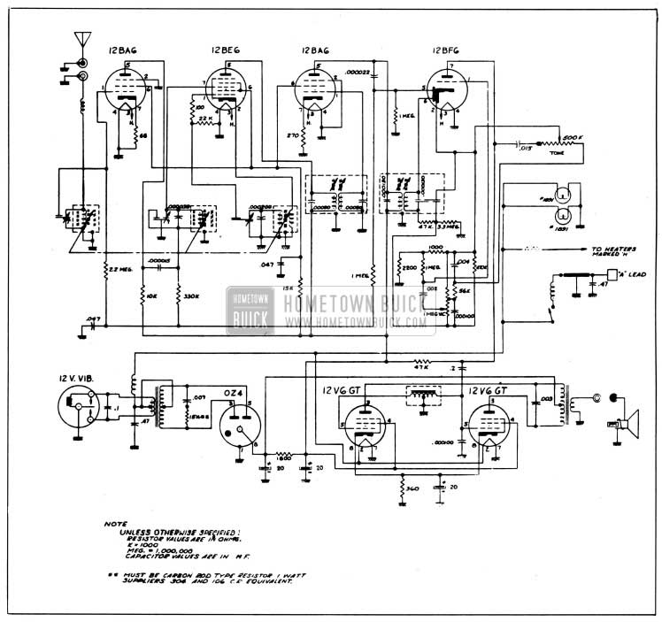 1958 Buick Radio Circuit Schematic-Sonamatic