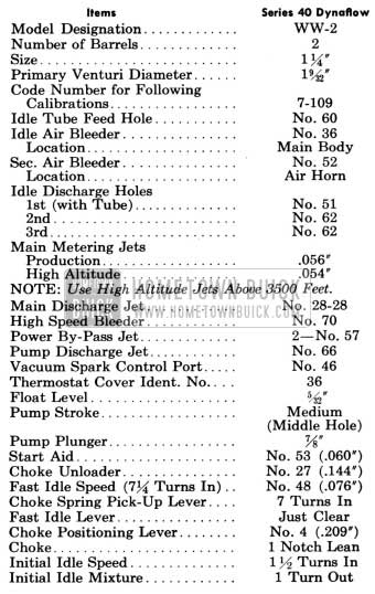 1958 Buick Stromberg Carburetor Calibrations Specifications