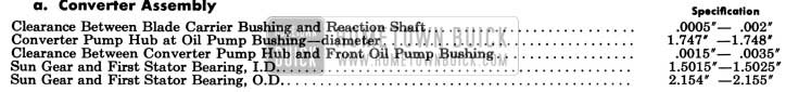 1958 Buick Variable Pitch Dynaflow Converter Assembly Specifications