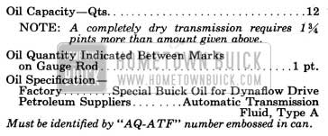 1958 Buick Variable Pitch Dynaflow Transmission Specifications