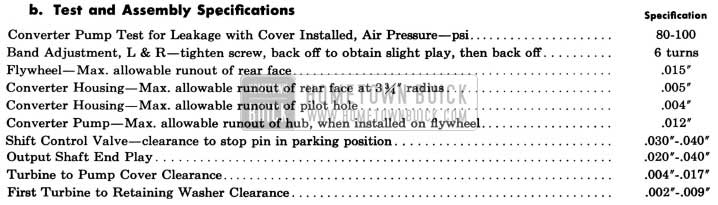 1958 Buick Variable Pitch Dynaflow Transmission - Test and Assembly Specifications