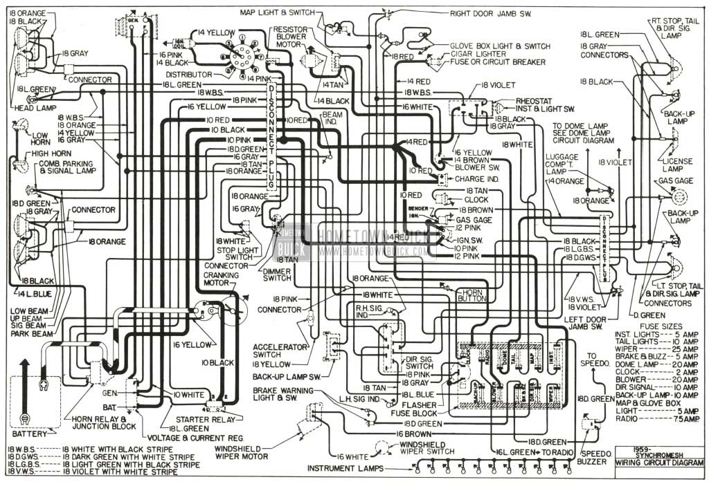 1959 Buick Chassis Wiring Diagram-Synchromesh Transmission