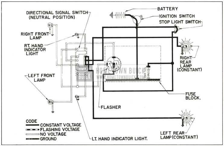 1959 Buick Direction Signal Lamp Circuit Diagram-No Tum Indicated