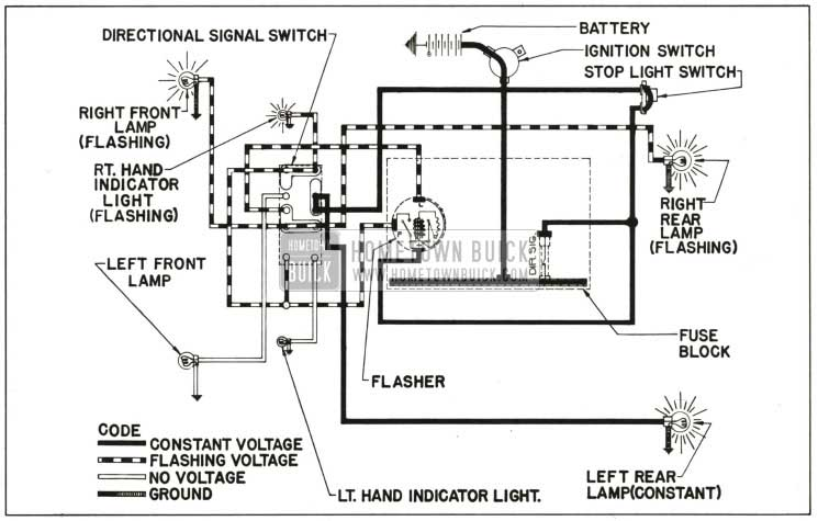 1959 Buick Direction Signal Lamp Circuit Diagram-Right Tum Indicated