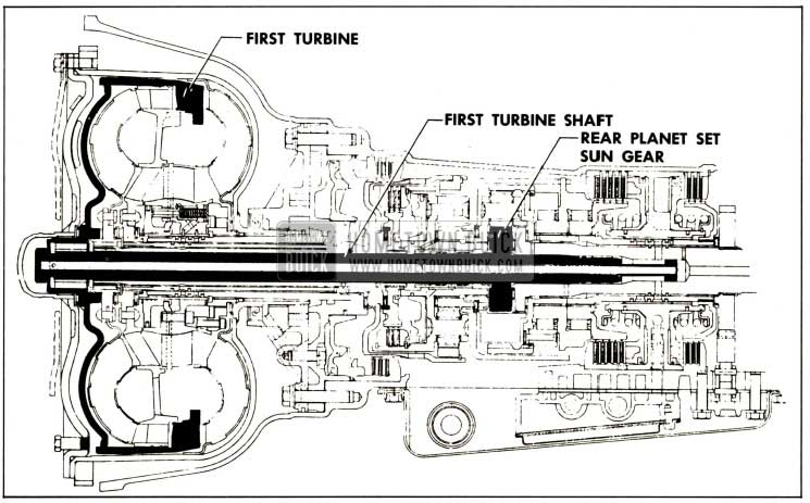 1959 Buick First Turbine, First Turbine Shaft and Rear Planet Set Sun Gear