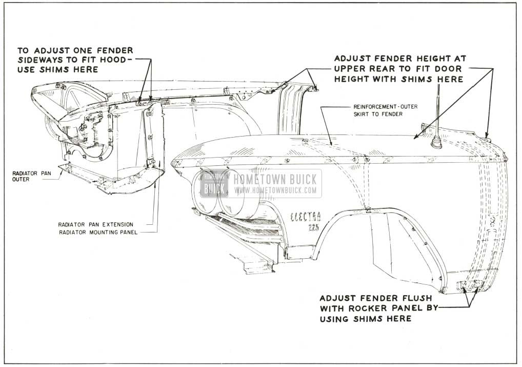 1959 Buick Front Fender Adjustment Points