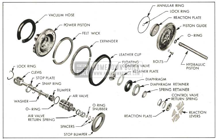 1959 Buick Power Piston Assembly-Exploded View