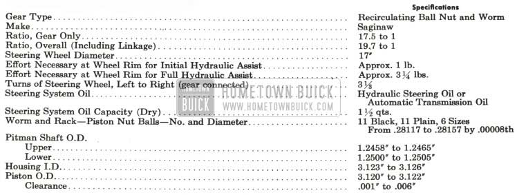 1959 Buick Power Steering Gear Specifications
