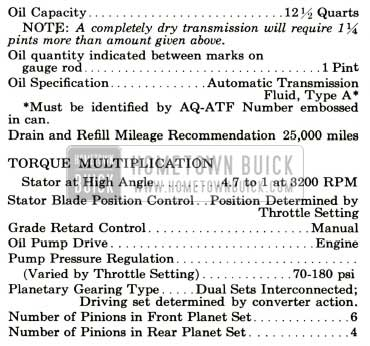 1959 Buick Triple Turbine Transmission Specifications