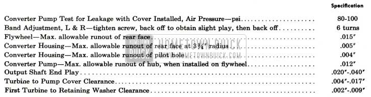 1959 Buick Twin Turbine Transmission Test and Assembly Specifications