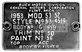 1953 Buick Body Tag