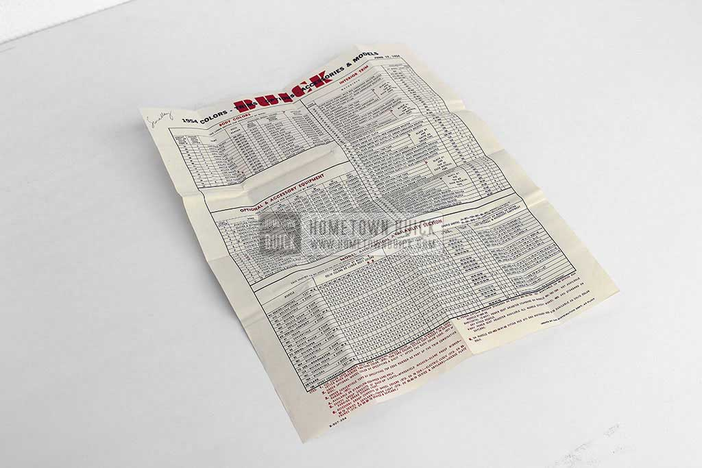 1954 Buick Car Order Form 01