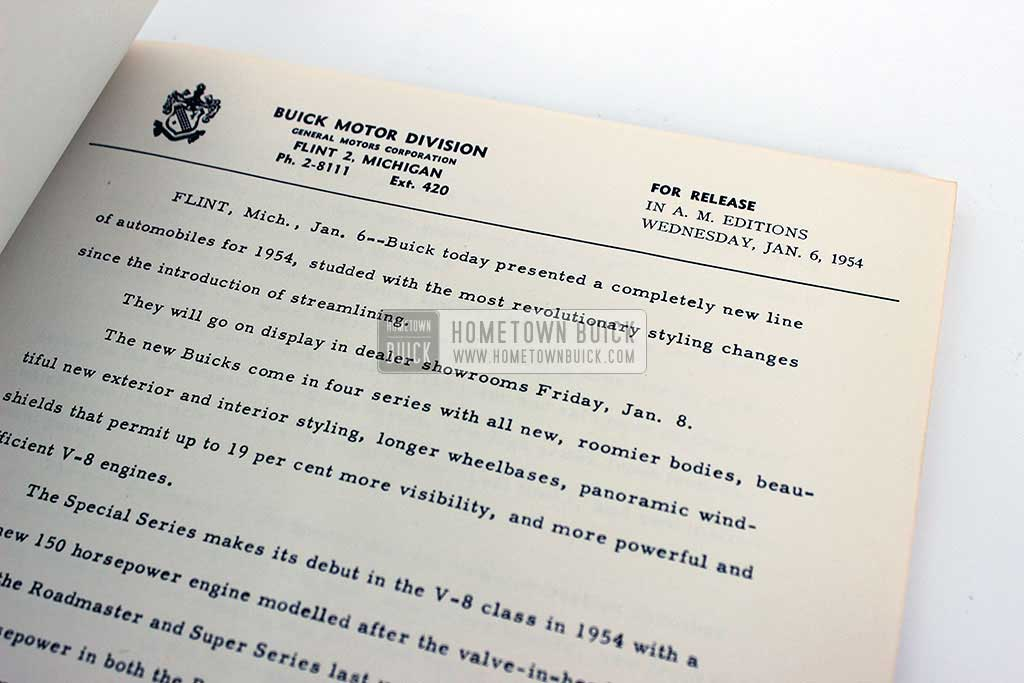 1954 Buick Press Release Kit 05
