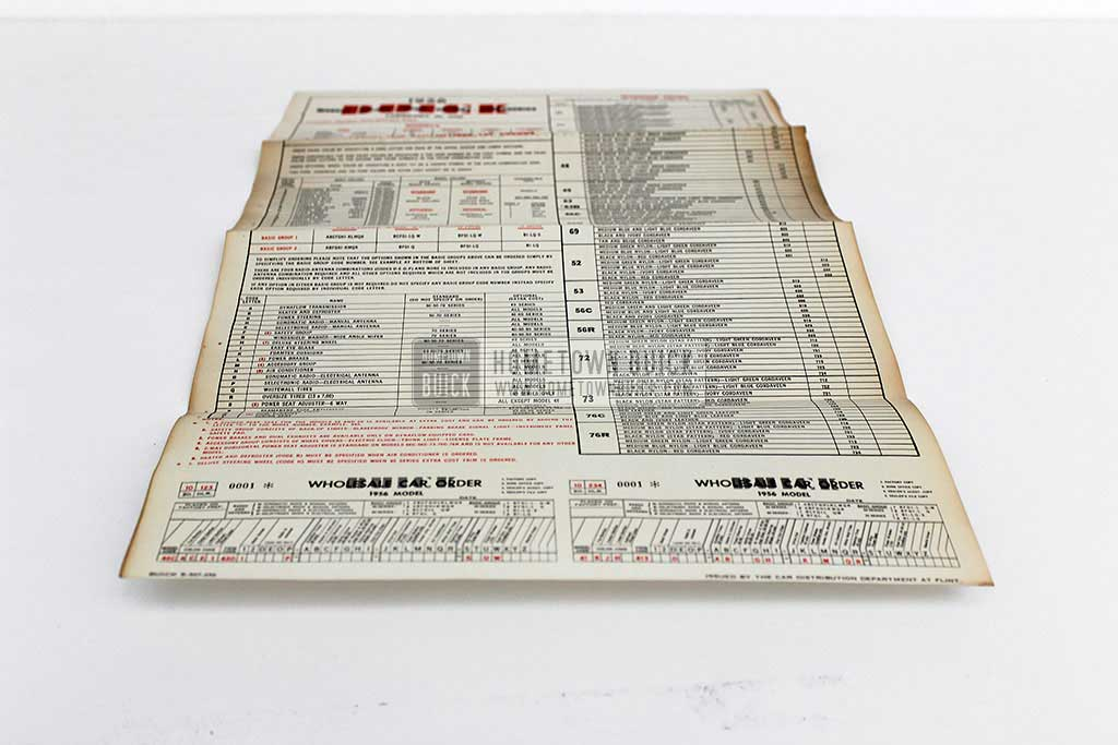 1956 Buick Car Order Form 03