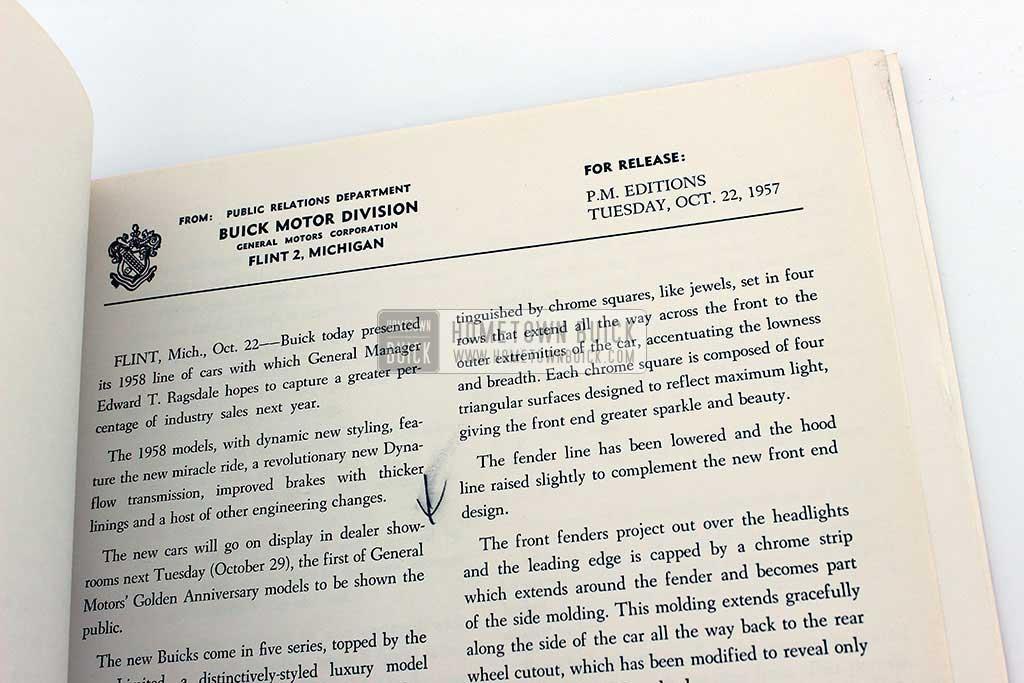 1958 Buick Press Release Kit 06