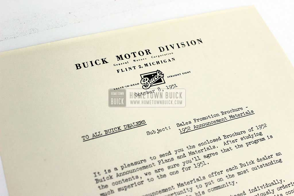 1952 Buick Announcement Material Brochure 09